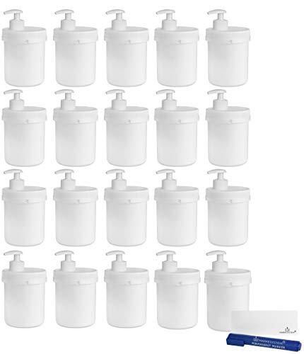 MARKESYSTEM - Tarro blanco 500ml (20 Tarros) con bomba dosificadora y precinto de seguridad - Tapa de rosca - Envase rellenable de uso Alimentario, Cosmético e Industrial + Kit etiquetado