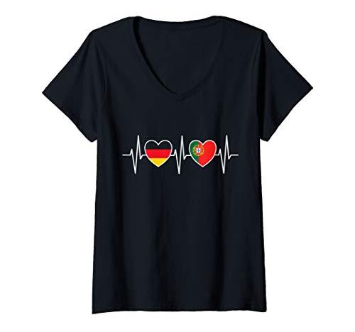 Damen Deutschland und Portugal portugiesisch Fahne Flaggen T-Shirt mit V-Ausschnitt