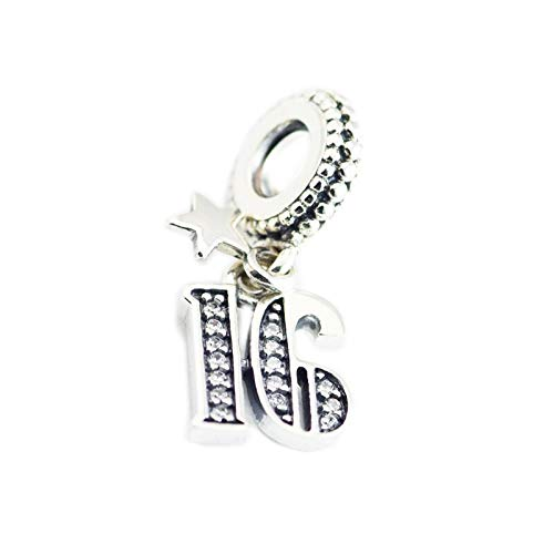 Authentic 925 Sterling Silver Clear 16Th Celebration Dangle Charms Beads Fits Original Bracelets Women Diy Jewelry