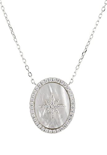 LATELITA Starburst - Collar con colgante ovalado de madreperla de plata