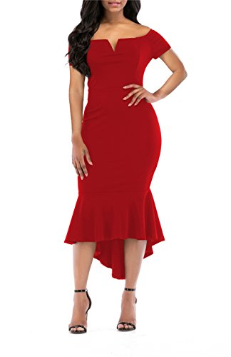 onlypuff Womens Cute Off Shoulder Bardot Evening Gown Fishtail Midi Dress Red XXL