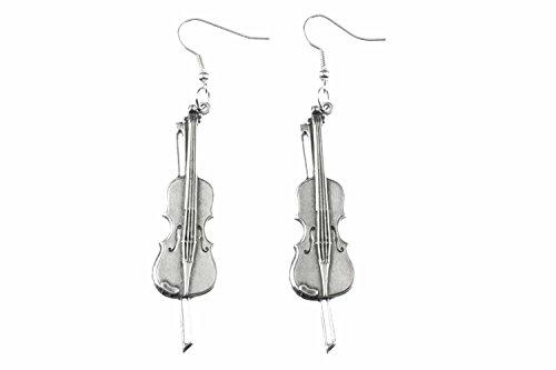 Miniblings Geige Ohrringe Geigenohrringe Violine Bratsche Geiger versilbert - Handmade Modeschmuck I Ohrhänger Ohrschmuck versilbert