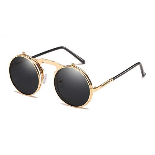 UKKD Gafas De Sol Mujer Gafas De Sol Hombres Mujeres Doble Marco Gafas De Sol Gafas De Sol Gafas De Gafas Circular Eyewear