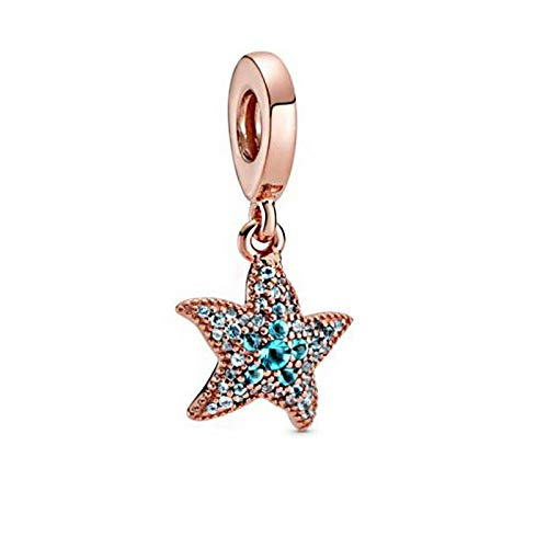 Pandora 925 plata esterlina DIY colgante joyería brillante estrella de mar Swing granos encantos ajuste pulseras joyería femenina