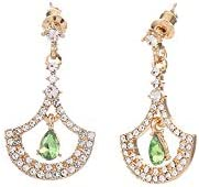 Glitziest Clear Crystal Leaf Feather Earring Jackets Jewelry Gift for Women Girls
