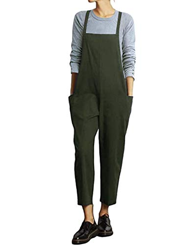 VONDA Damen Latzhose Retro Lange Overall Größe Jumpsuit Baggy Sommerhose J-Armeegrün XL