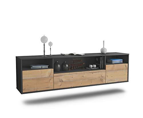 Dekati Lowboard Winston-Salem hängend (180x49x35cm) Korpus anthrazit matt | Front Holz-Design Pinie | Push-to-Open