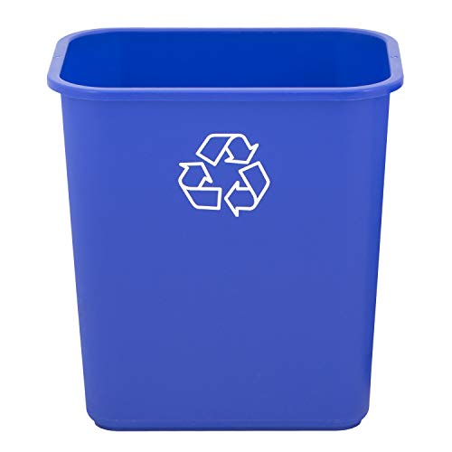 United Solutions WB0324 7 Gallon/28 Quart Efficient Recycle Wastebasket | Pack of 12 | Fits Under Desk | Small Narrow Spaces in Commercial Kitchen Home Office Dorm | Easy to Clean 12 Pack Blue