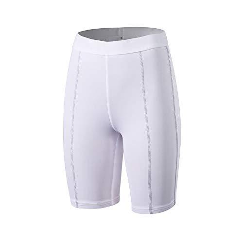 Mujer Pantalones Cortos de Correr Deportivas Morbuy Cortas con compresión y función de Secado rápido Running Pantalones Cortos de Yoga (S,Blanco)