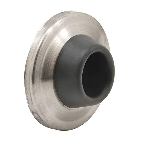 """Prime-Line J 4540 Wall Stop – Protects Walls from Door Knob Damage – 2-5/16"""" Outside Diameter Stainless Steel Cover with 1-1/8"""" Gray Round Rubber Bumper – Easy To Install"""