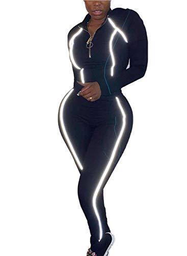 FOBEXISS Chándal para mujer con cremallera y cuello alto, sexy, flaco, color sólido, manga larga, pantalones largos, juego de 2 piezas para mujer