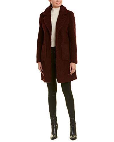French Connection Women's 3/4 Faux Shearling Coat, Wine, M