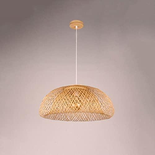 KAIKEA Estilo japonésE27 Lámpara colgante de arte de bambú Arte creativo Candelabro de ratán Restaurante Casa de té Tejido de ratán Proyecto de sala de estar Iluminación decorativa Lámpara colgante Lá