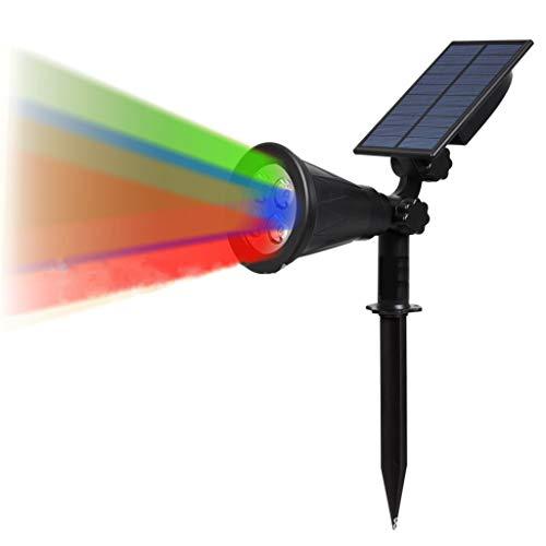 Homzyy Solar-schijnwerper, wand-/tuin-buitenverlichting, heldere landschapsverlichting met ledverlichting, hoek van 90 graden, verstelbaar voor tuingazon Rgb