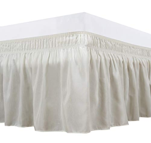 Biscaynebay Wrap Around Bed Skirts Elastic Dust Ruffles, Easy Fit Wrinkle and Fade Resistant Solid Color Luxurious Silky Textured Fabric, Ivory Full and Twin 15 Inches Drop