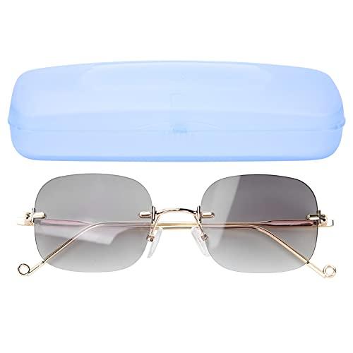 Yinhing Gafas de Sol para Hombres y Mujeres, Lentes de Color Verde Degradado, Gafas de Sol Anti-UV sin Montura, Gafas de Sol polarizadas a Prueba de Rayos Ultravioleta