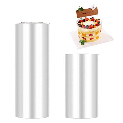 JOJYO Kuchen Halsbänder, 2 Rolle Kuchen Kragen Transparent Acetat Rolle Tortenrandfolie für Tortendeko Schokolade Mousse Backen