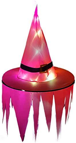 Sombrero de bruja de Halloween con luz LED Sombrero brillante colgante Decoración de Halloween Árbol de suspensión Sombrero brillante para niños para exteriores, patio-rojo_Con luz