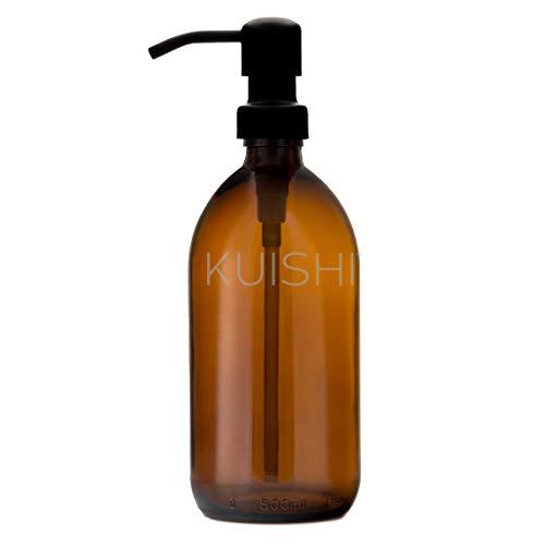Kuishi Braunglasflasche 500ml [Schwarz] mit Edelstahl Pumpe, Nachfüllbare Glas Seifenspender für Duschgel, Shampoo und Handwäsche. Reduzieren Verschwendung von Kunststoffverpackungen (BPA-Frei)