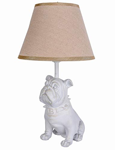 Mops Tischlampe Bulldogge Bulli Leuchte Weiss Tischleuchte Hund Landhaus Lampe cw073 Palazzo Exklusiv