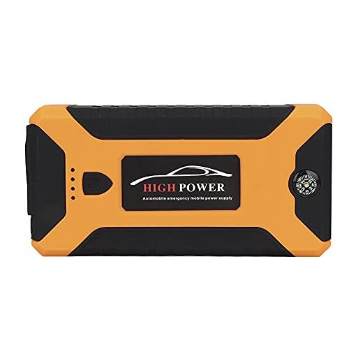 Akozon Arrancador de coche Arrancador de emergencia para automóvil Fuente de alimentación 600 amperios 12 voltios 20.000 mah con SOS Cargador para portátil con luz de motor Puerto USB(EU Plug)