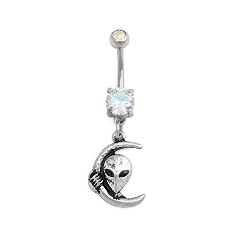 Painful Pleasures 14g 10mm Stainless Steel Navel Jewelry with Press-Fit Glass Stone and Cubic Zirconia Jewel — Dangling Brass-Cast Alien and Moon Charm with Burnished Silver Finish — External 1.6mm