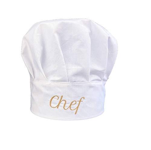 Pet-Jos Chef Kochmütze Unisex Kochmütze aus Baumwolle Küche Hotel Restaurant Gastro-Hüte Einstellbar für Männer, Frauen, Kochen, Weiß