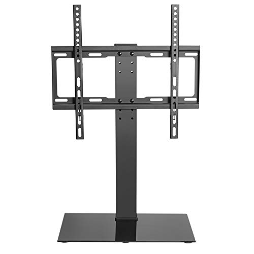 Audizio TTTS40 - Soporte universal para monitor de TV (acero, con base de cristal templado, altura ajustable, 32-55', 30 kg, gestión de cables, VESA 100, 150, 200, 300, 400