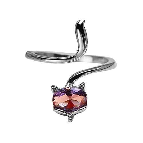 minjiSF Foxing - Anillo abierto para mujer con cristales ajustables, fácil de usar, no se decolora, clásico, alianzas de boda, alianzas de celebración (lila, 6 x 4 x 2)