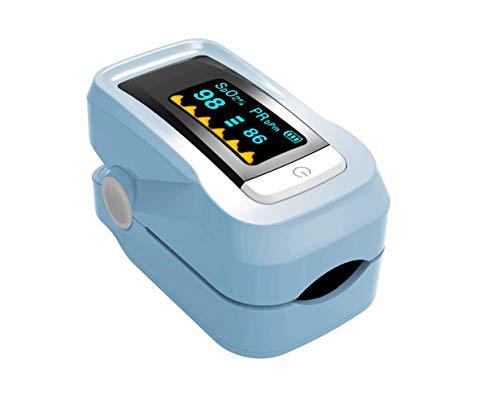 Alarm Fingerspitze Pulsoximeter, Blutdruckmessgerät, tragbare Sauerstoffsättigung Herzfrequenz-Messgerät, Finger Puls Sauerstoffmessgerät,Blau,Einheitsgröße