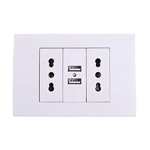 HAIYOUSHANGMAO Wandnetzdosen-Stecker Doppel Italienisch/Chile Steckdose mit 1000mA Dual USB Ladegerät Anschluss for Mobile 118mm * 80mm Steckdose (Color : White, Outlets Number : 2)