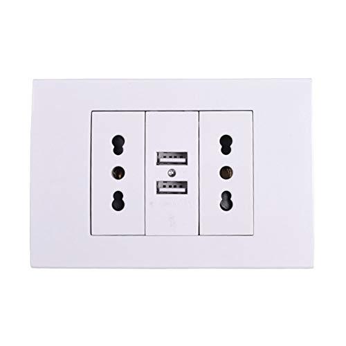 Enchufe de pared, doble toma de corriente italiana/chilena con puerto de cargador USB dual de 1000 mA for móvil 118 mm * 80 mm (Color : White, Outlets Number : 2-110 250V-Wall Socket)