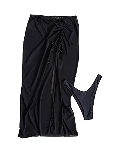 SOLY HUX Women's 2 Piece High Cut Bikini Panty and Drawstring Cover Up Skirt Set Swimwear Black L