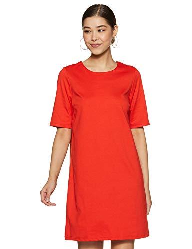 VERO MODA Damen Kleid VMALEXA 2/4 SHORT DRESS JRS, Rot (Fiery Red), Small (Herstellergröße: S)