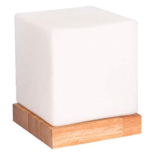 JBNS Mini Cube Tischlampen-Dekor-Nachtlampen-Glasfarbton Holzsockel-Schreibtisch-Licht Morden Schlafzimmer und Cafe Bar Desktop-Beleuchtung (EU-Stecker)