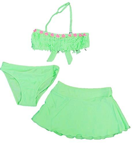 Schönes Mädchen 3-Teiler Bikini-Set - 1x Neckholder-Oberteil, 1x Höschen, 1x Rock/Pareo in den Größen 110-164 (134-140)