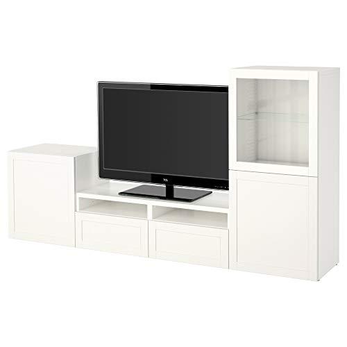 BESTÅ TV-opbergcombinatie/glazen deuren 240x40x128 cm Hanviken/Sindvik wit helder glas