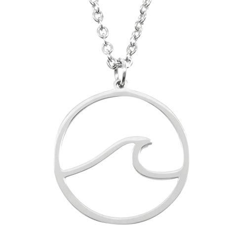 Happiness Boutique Damen Ozean Welle Kette in Silberfarbe | Filigrane Kette mit Anhänger Edelstahlschmuck