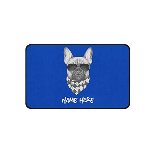 Cutsom Dog Mat for Food and Water - Personalized Absorbent Non-Slip Pad with Frenchies French Bulldogs Design Small Medium and Large Sizes