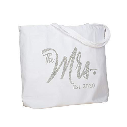 ElegantPark Future The Mrs. EST. 2020 Personalized Bride Tote Wedding Bachelorette Bridal Shower Gifts Large Shoulder Bag White with Silver Glitter