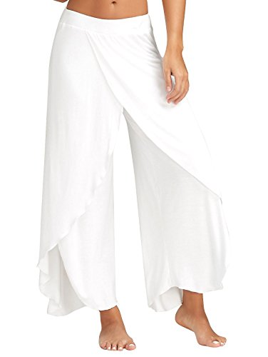 GUOLEZEEV Women Lounge Pants Cropped Palazzo Pants White XL