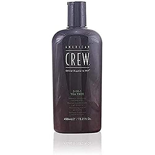 AMERICAN CREW – 3-in-1 Tea Tree Shampoo, Conditioner & Body Wash mit Teebaumöl, 450 ml, Pflegeshampoo und Spülung für Männer, Duschgel zur täglichen Reinigung von Körper und Haar