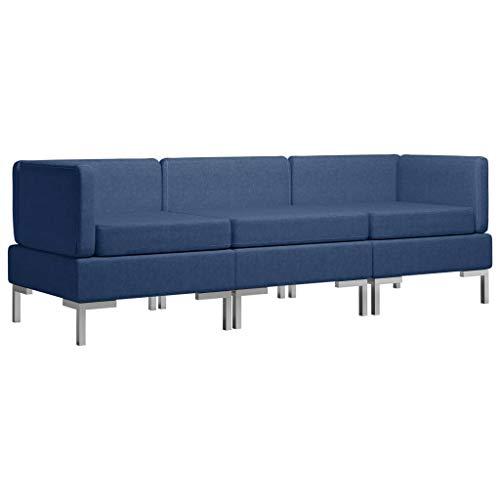 vidaXL Sofagarnitur 3-TLG. Stoffsofa Couch Loungesofa Sofa Polstersofa Couchgarnitur Polstergarnitur Sitzmöbel Ecksofa Mittelsofa Stoff Blau