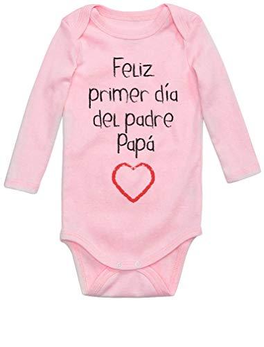 Body de Manga Larga para bebé - Regalo Padre Bebe - Feliz Primer Día del Padre - Newborn Rosa