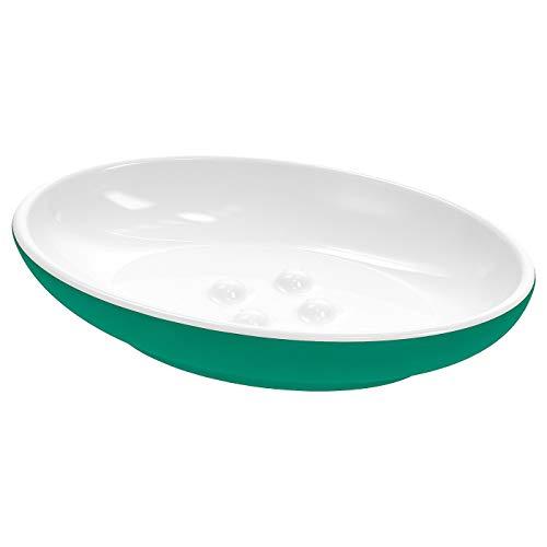 My- Stylo Collection Seifenschale, grün, ideal für Seife, aber auch für kleine Schmuckstücke, die leicht verschwinden, Produktgröße Länge: 13 cm, Breite: 9 cm, Material: Steingut