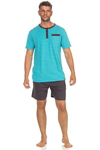 Pijama de manga corta para hombre con diseño de rayas, 102 105 90 502 turquesa XXX-Large