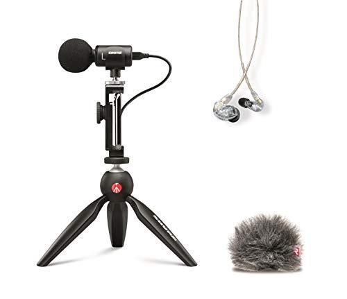 Shure Pacote de vídeo portátil com fones de ouvido SE215 e kit de vídeo MV88+, incluindo microfone condensador estéreo digital