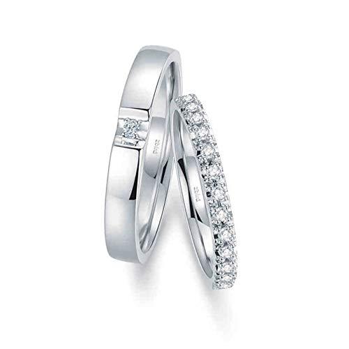 Aienid 18 Karat Weißgold Paar Ringe Paar Silber Krone Elegant Paar Ringe Set Frauen 58 (18.5) & Herren 60 (19.1)