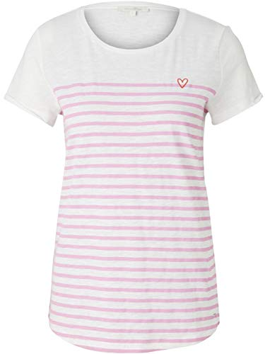 TOM TAILOR Denim Streifen T-Shirt, Damen, Rosa XL