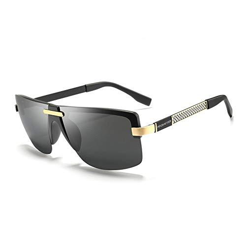 Ruanyi Metall polarisierte Sonnenbrillen, Klassische Trend-Sonnenbrillen, die Spiegel für Mens UV400 Fahren (Color : Gold)